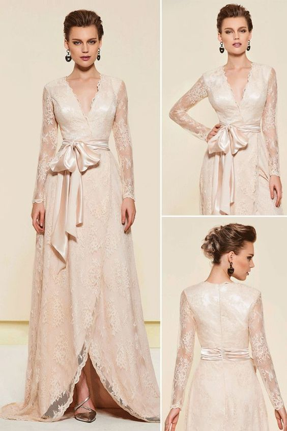 Lace Long Sleeves V-Neck Mother of the Bride Dress. Dress