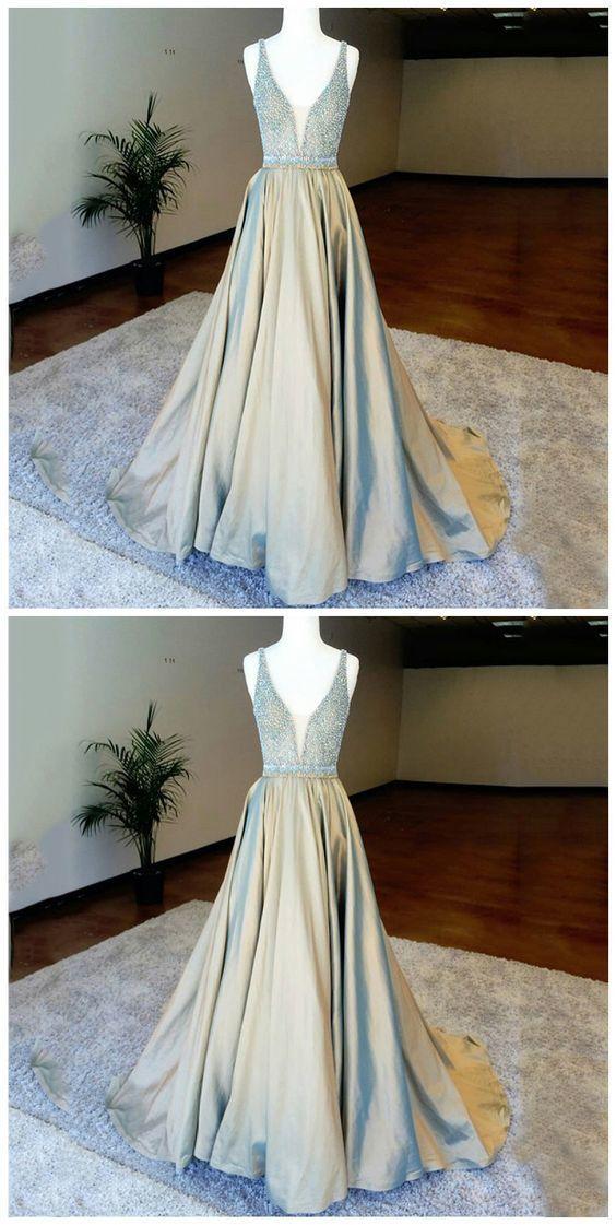 A-Line Deep V-Neck Floor-Length Light Champagne Prom Dress