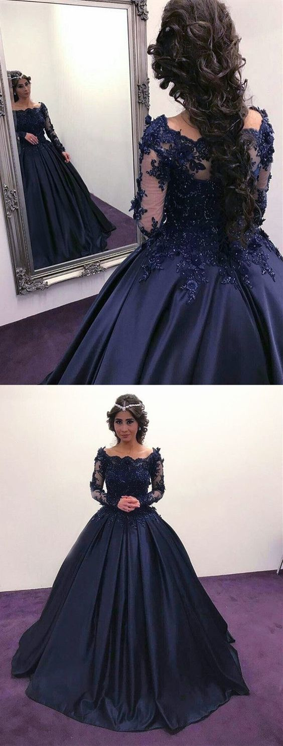 Navy Blue Ball Gown Quinceanera Dresses with Long Sleeves Prom Dresses