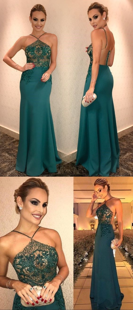 Halter Prom Dresses Sheath Column Dark Green Sparkly Prom Dress Long Evening
