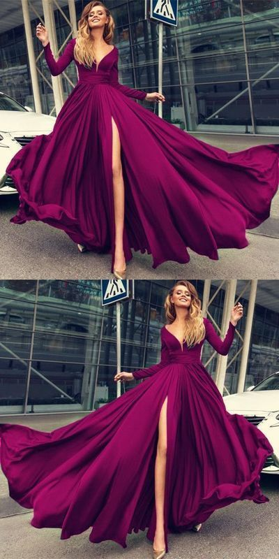 Charming Prom Dress,Long Prom Dresses,Long Sleeves Evening Dresses with Slit