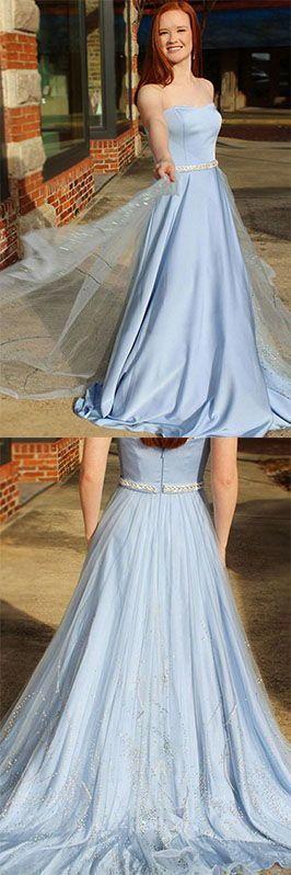 Long Sky Blue Strapless Elegant Prom Dresses Cute Dresses