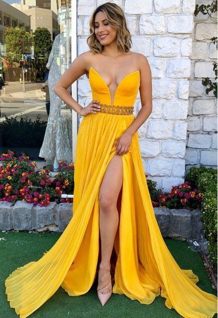 sexy long prom dress, elegant A-line yellow long prom dress,evening dress,2018