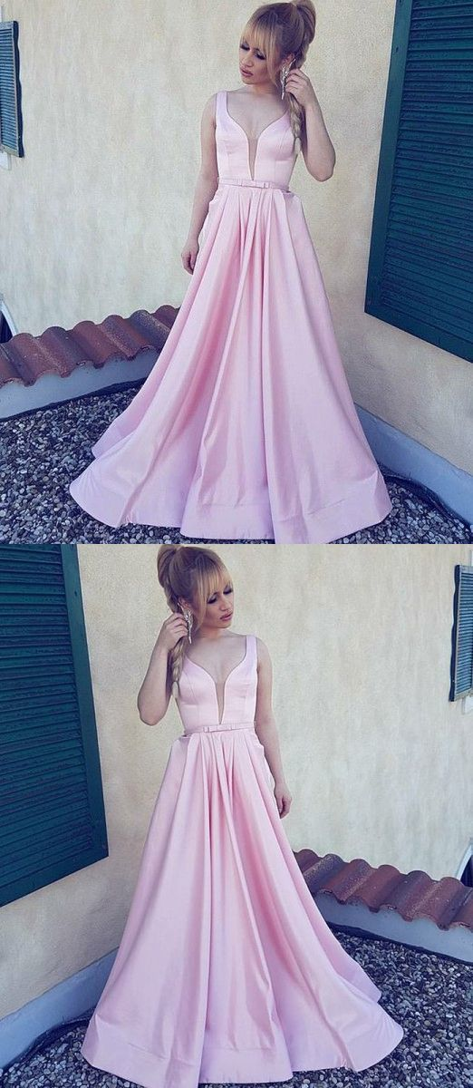 A-Line V-Neck Sleeveless Floor-Length Pink Satin Prom Dress with Bow