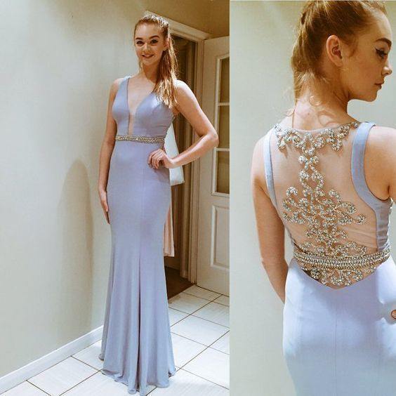 Charming Prom Dress,Mermaid Prom Dress,Beading Prom Dress,Satin Prom Dress