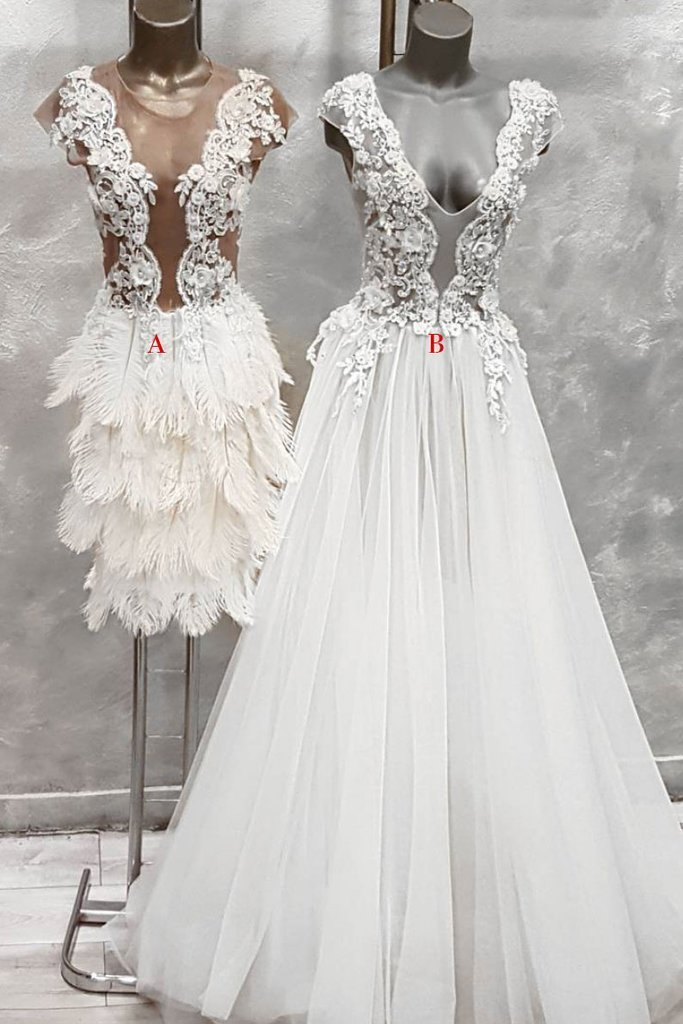 Unique v neck lace tulle prom dress, white evening dress