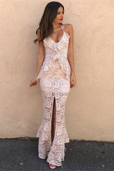 Mermaid Scoop Split Front Ivory Lace Prom Dress with Ruffles