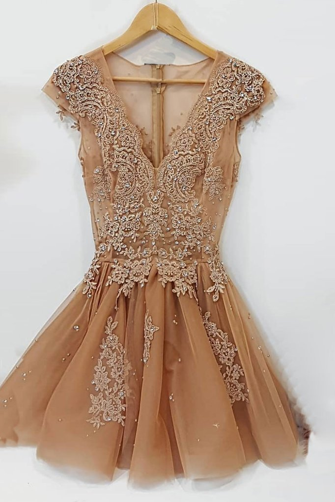 Champagne v neck lace tulle short prom dress, lace tulle homecoming dress