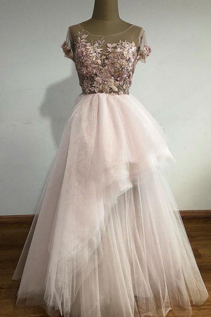 Unique tulle lace long prom dress, tulle lace evening dress