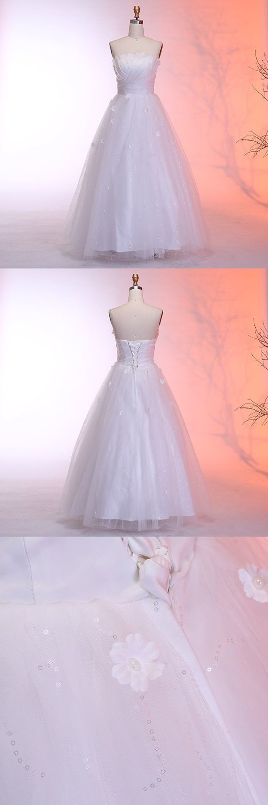 A-Line Strapless Floor-Length Wedding Dress with Appliques Sequins