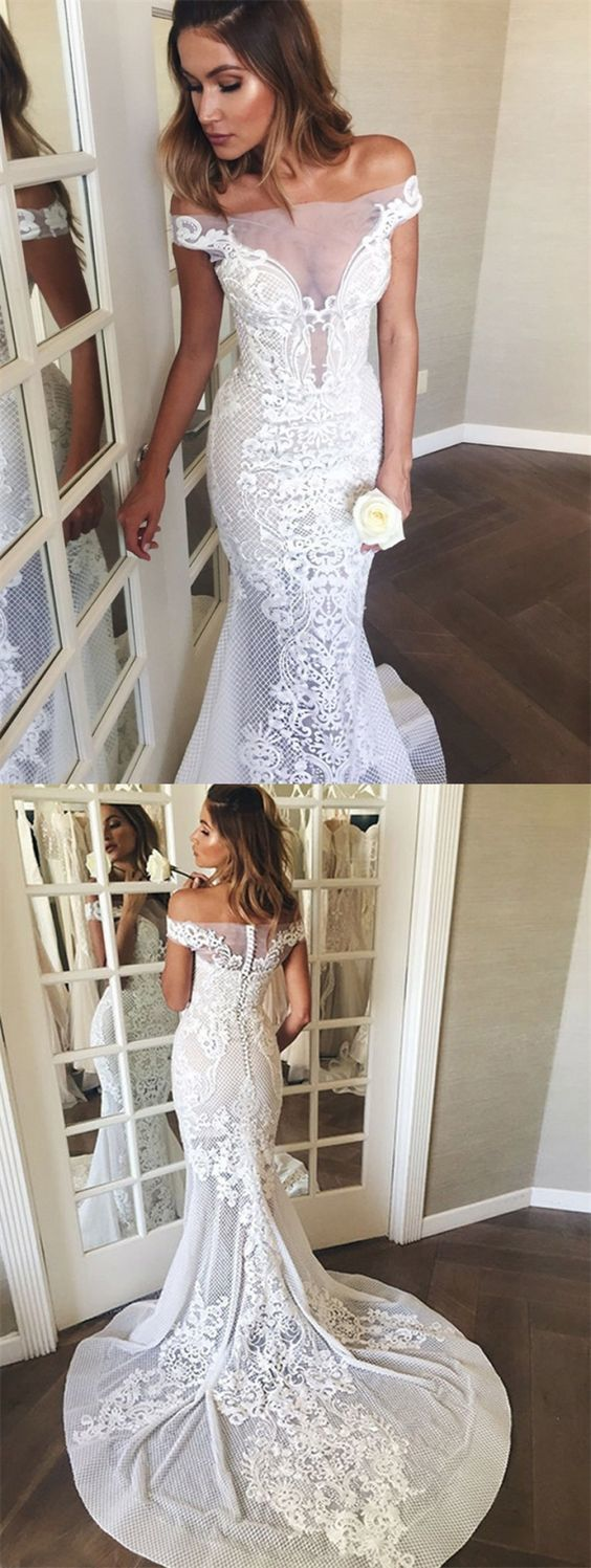 Mermaid Off-the-Shoulder Sweep Train White Lace Wedding Dress