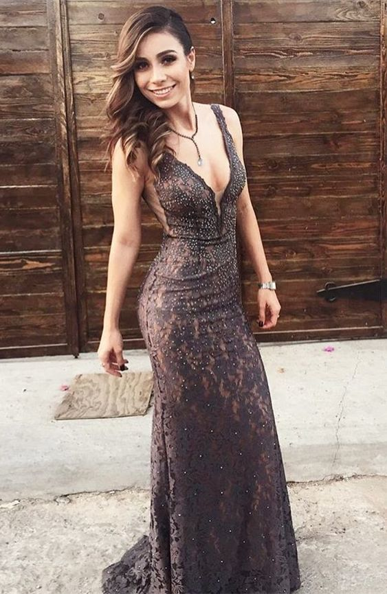 Mermaid Deep V-Neck Sweep Train Brown Lace Prom Dress with Beading
