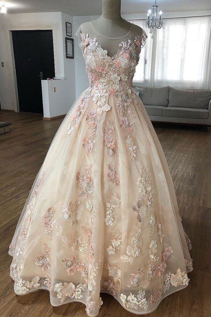 Champagne lace applique tulle long prom dress, tulle evening dress