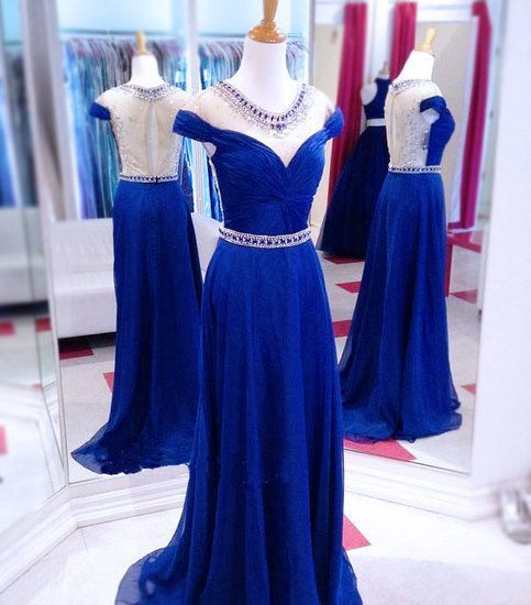 Pretty Long Prom Dress A-Line Blue Prom Dress Party Dress