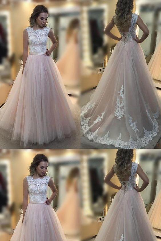 Fancy Lace, Pink, Light Pink, A-Line prom dress
