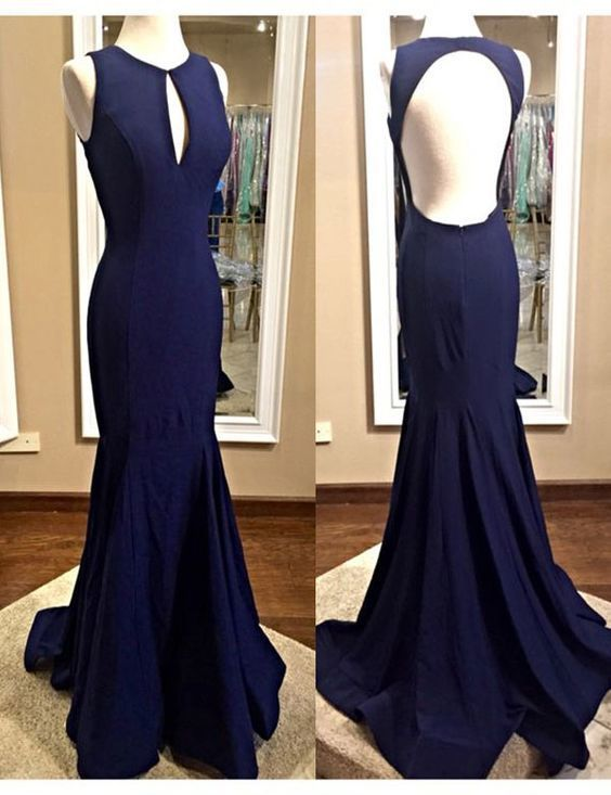 Navy Blue Prom Dress,Scoop Prom Dress,mermaid Party Dress ,Mermaid Prom