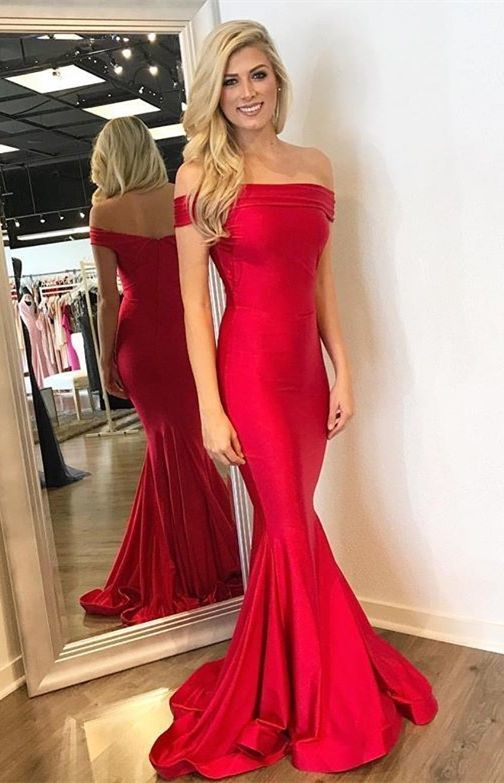 Mermaid Off-the-Shoulder Long Red Elastic Satin Prom Dress