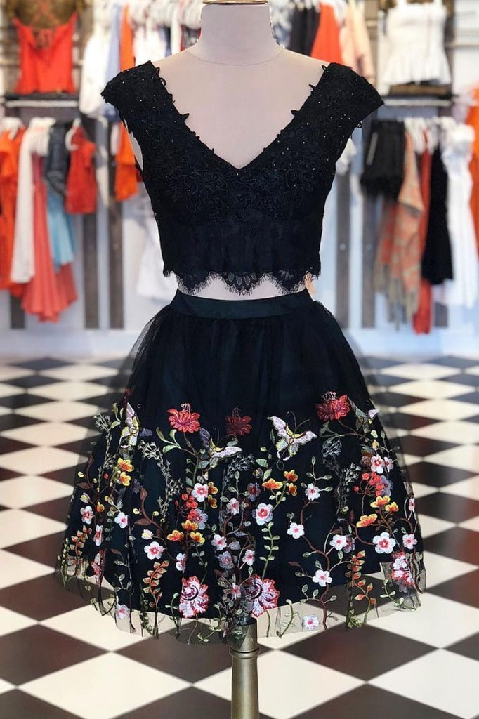 Black two pieces lace short prom dress, black homecoming dress