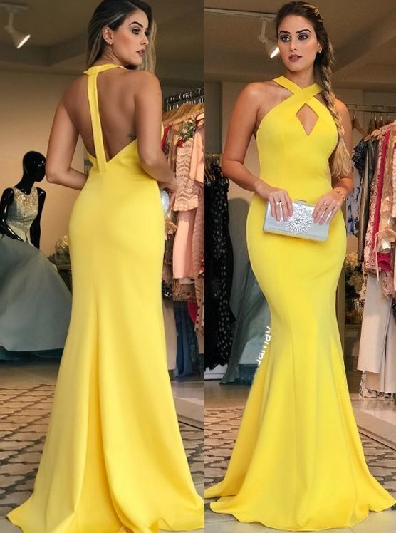 Halter V Neck Jersey Long Prom Dress Yellow Formal Evening Gown