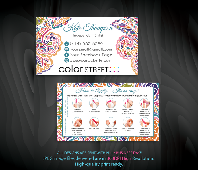 How to apply Color Street Card, Color Street Business Cards, Color Street