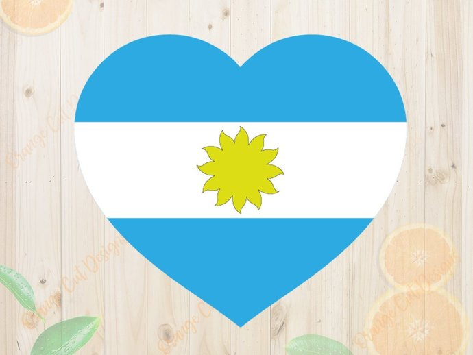 Heart Flag Argentina Svg, National Svg, Rusia 2018 SVG, National team heart svg,