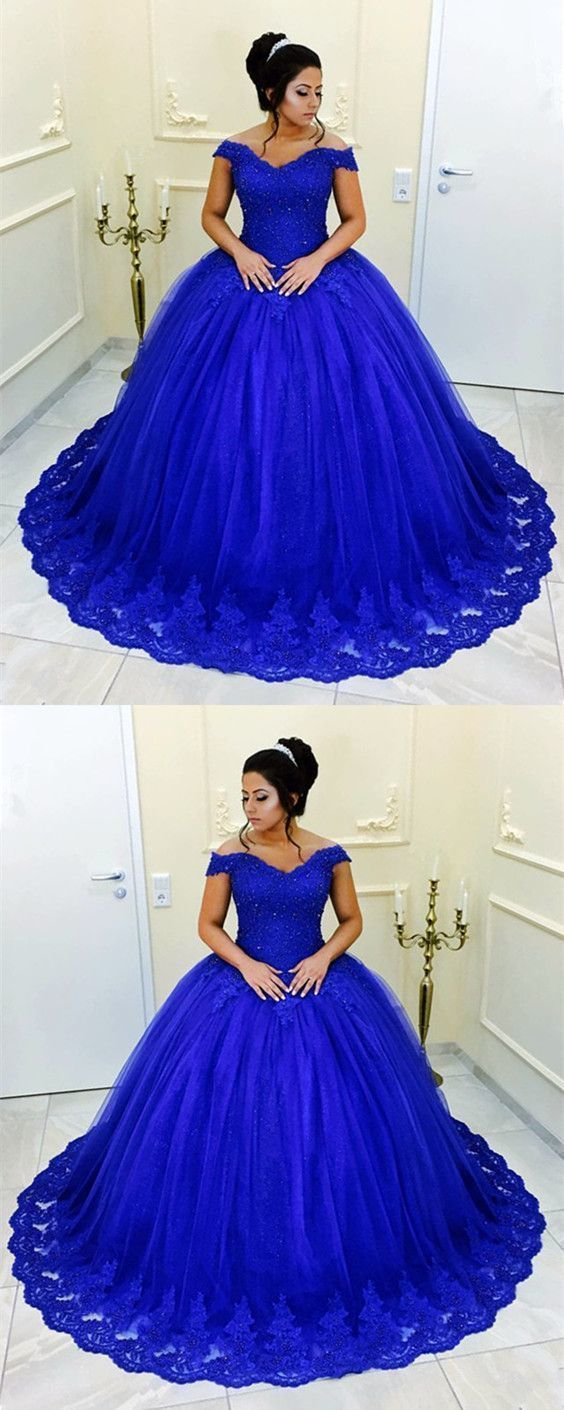 Royal Blue Lace Beaded V-neck Off The Shoulder Tulle Ball Gowns Quinceanera