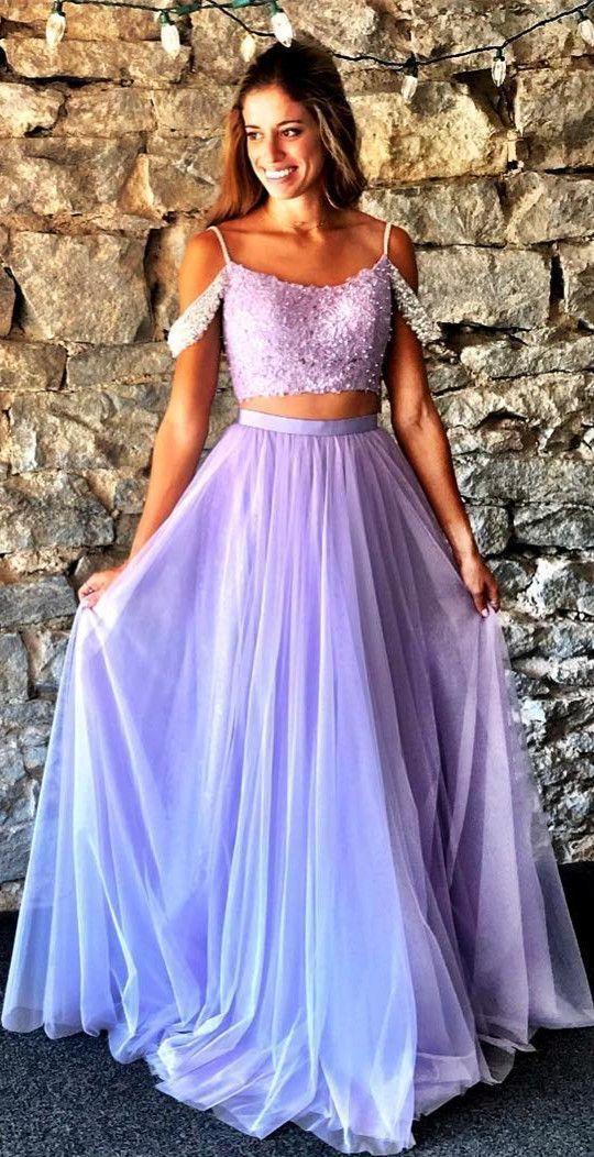 2385bf06499 straps two piece lavender long prom dress