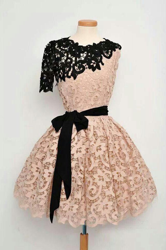 a3cdcb8a49 Champagne lace short prom dress