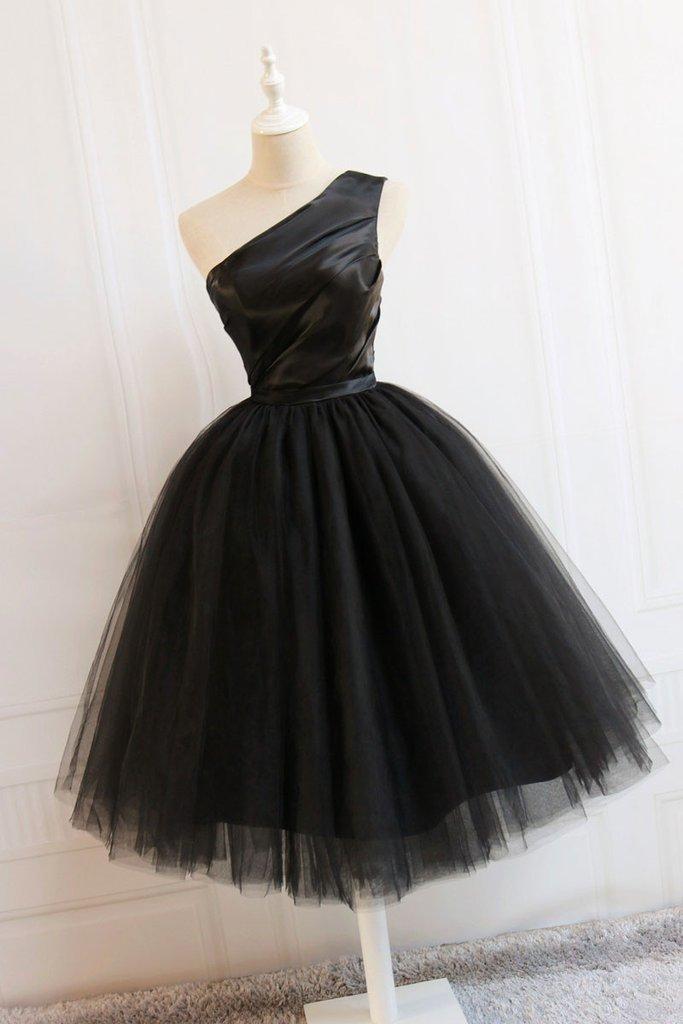 Cute black short prom dress, black homecoming dress