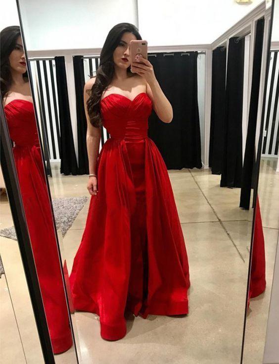 Elegant Red Long Prom Dress, Formal Evening Dress