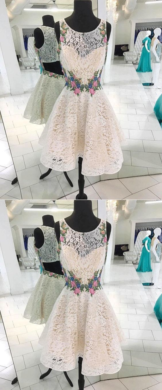 Round neck lace short prom dress, lace homecoming dress Short Prom Dress