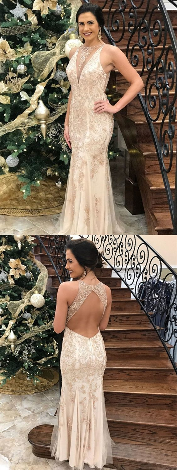Mermaid Round Neck Open Back Light Champagne Prom Dress with Sequins