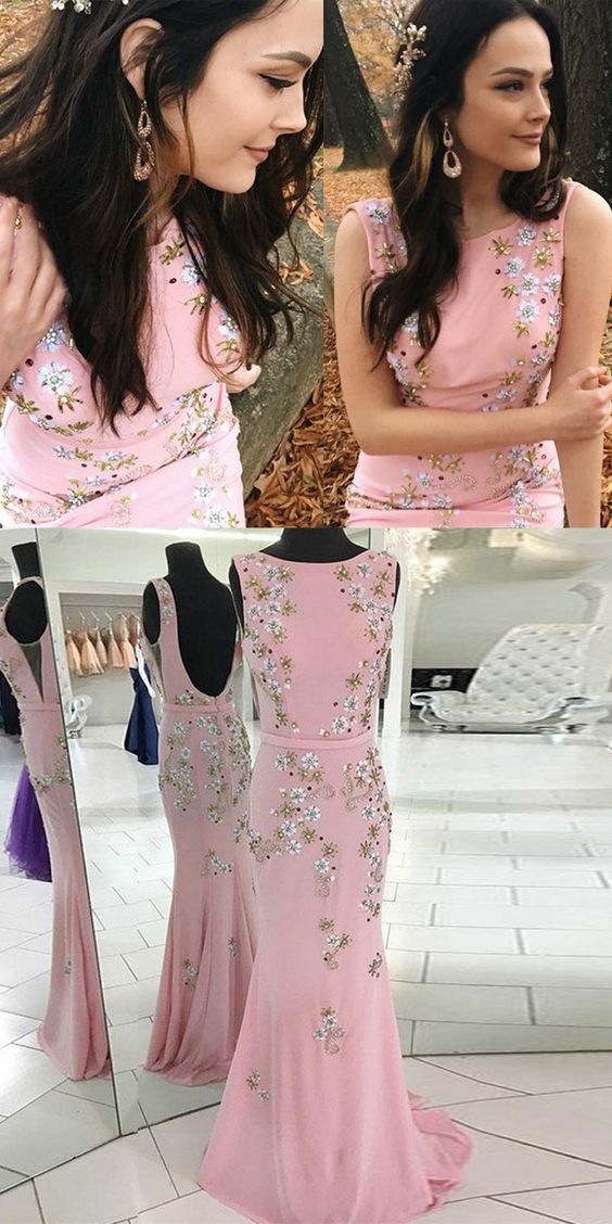 Mermaid Round Neck Backless Pink Long Prom Dress with Beading