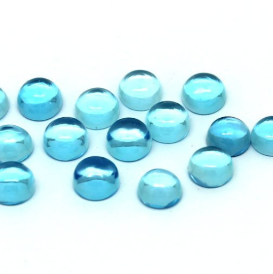 6mm Swiss Blue Topaz Cabochon - 1 piece
