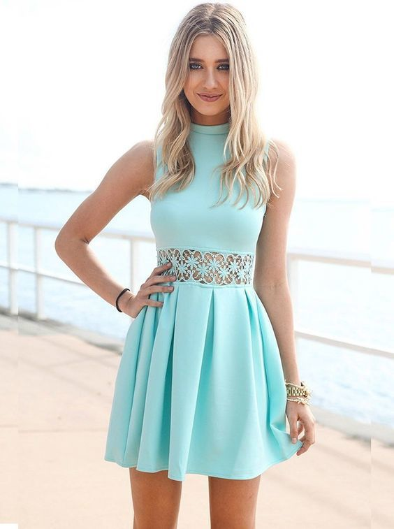 A-Line High Neck Sleeveless Short Blue Spandex Homecoming Dress with Lace