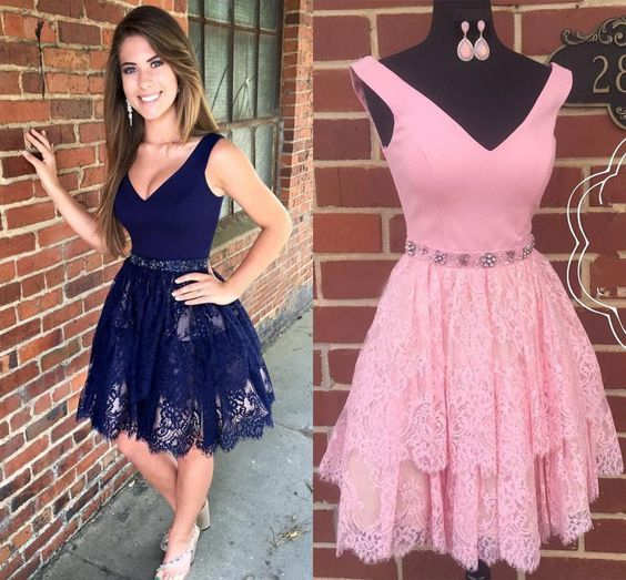 A-Line V-Neck Navy Blue Lace Homecoming Dress with Beading