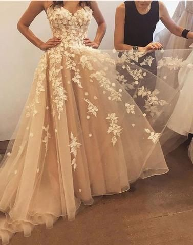 Tulle Appliques Tulle Long Prom Dress, Elegant Prom Gowns