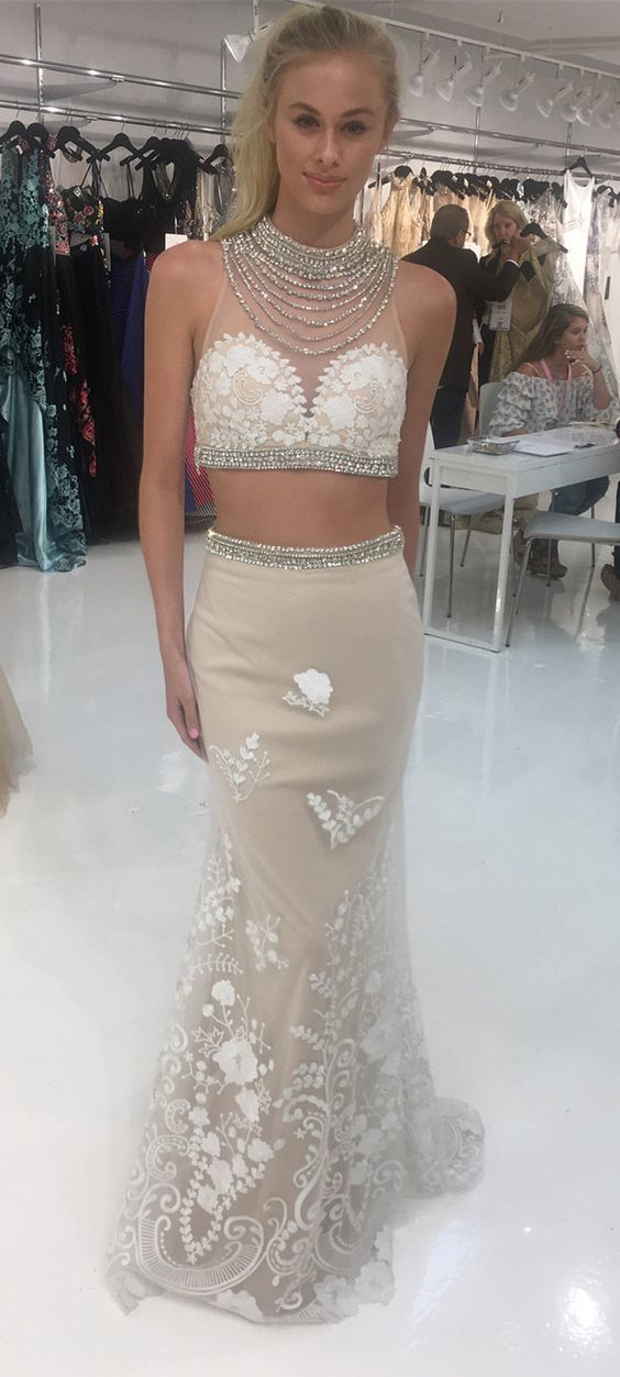 Two Piece Mermaid Long Prom Dress White Lace Long Prom Dress, Formal Evening