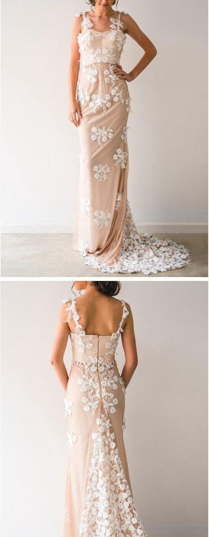 Sheath/Column Tulle Sweep/Brush Train Prom Dresses Long Evening Dresses