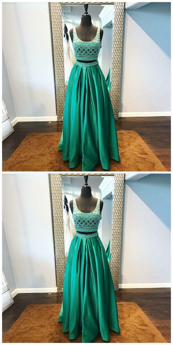 Two Piece Scoop Floor-Length Green Satin Beaded Prom Dress