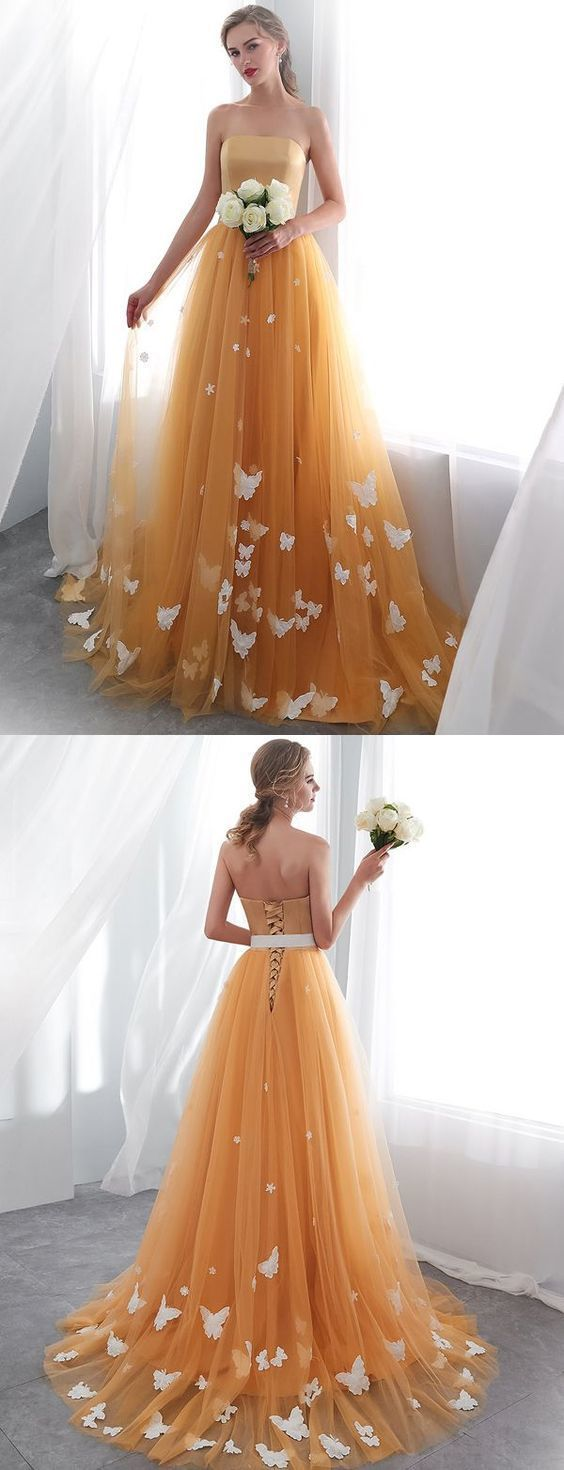 Fashion Yellow Strapless Long Prom Dress,Butterfly Applliques Evening