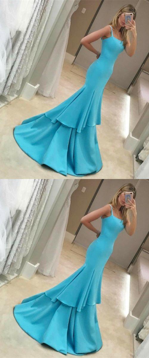 mermaid prom dresses,elegant square neck tiered party dresses BD2100