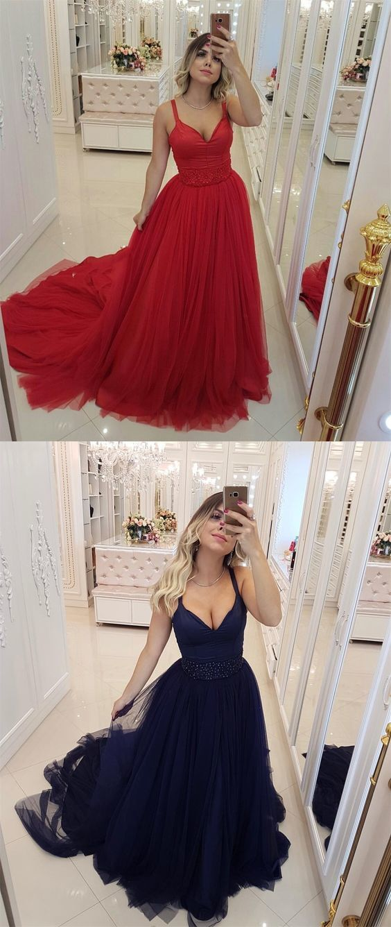 Sexy Red V-Neck Evening Dress Tulle Prom Dress
