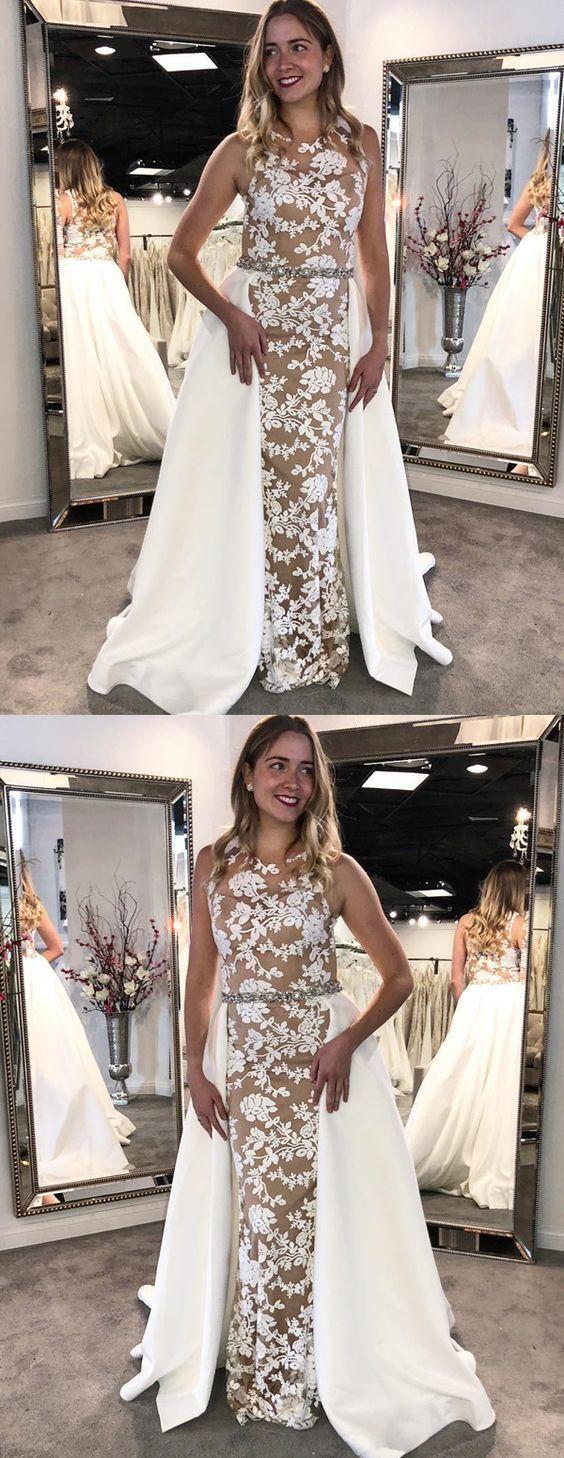 modest white lace long prom dresses BD2101