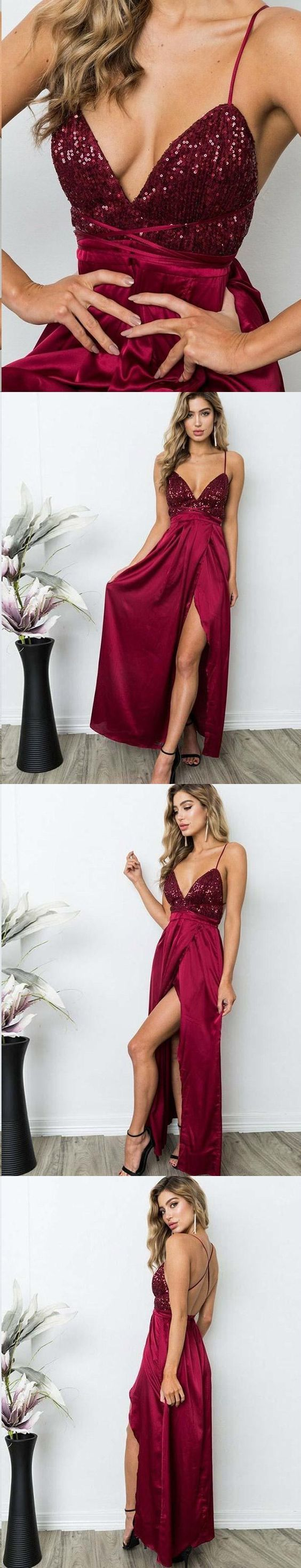 Open Back Prom Dresses with Slit A-line Spaghetti Straps Chic Long Burgundy Prom