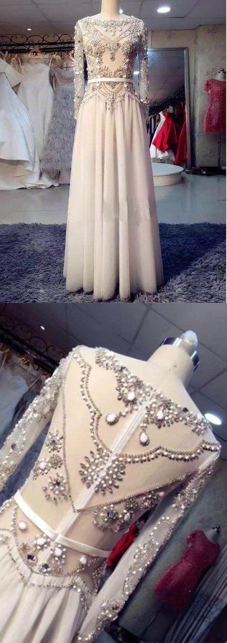 Long Sleeve Prom Dresses Bateau A-line Rhinestone Sparkly Long Prom Dress