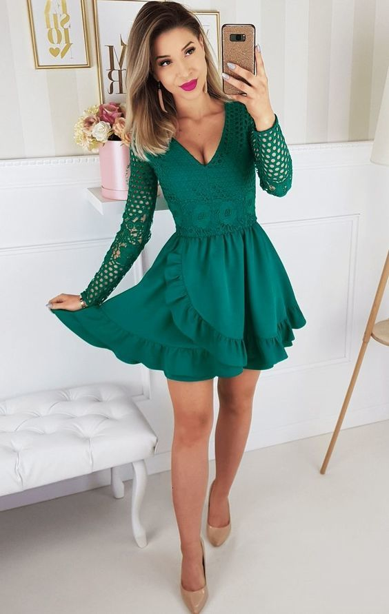 A-Line V-Neck Long Sleeves Short Green Homecoming Dress with Lace Ruffles