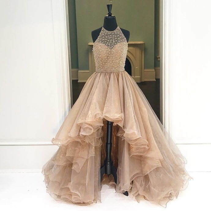 Copy of Round Neck High Low Champagne Prom Dresses, High Low Formal Dresses