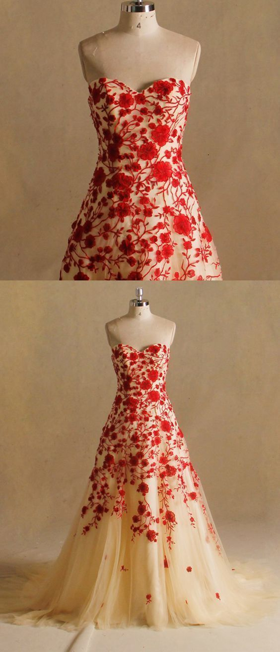 Elegant Mermaid Red Lace Tulle Evening Dress, Formal Dresses