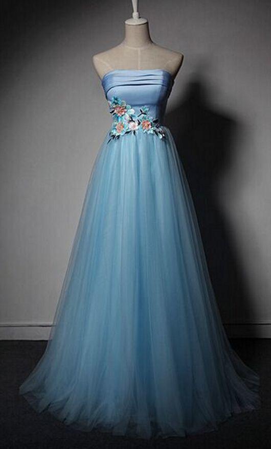 Elegant Light Blue Strapless Tulle Prom Dress, Long Evening Dress
